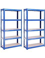 Garage rekken eenheden: 150cm x 75cm x 30cm | Heavy Duty rekken voor opslag - 2 Bay, Blauw 5 Tier (175 KG per plank), 875 KG capaciteit | Voor werkplaats, schuur, kantoor | 5 jaar garantie