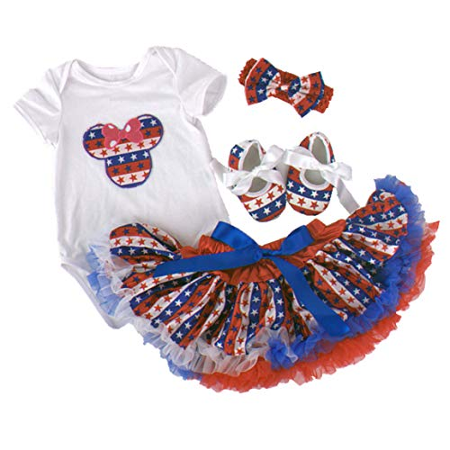 Amberetech 1st 4th of July Baby Girl Outfit Tutu Dress Party Costume Cotton Short Sleeve 4pcs Clothing Set (Style 5 - Mini Mouse, 0-3 Months)]()