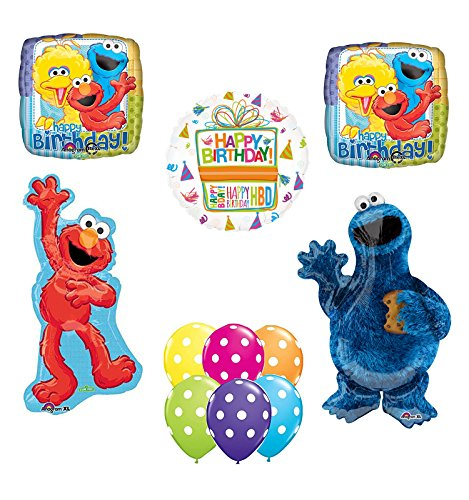 - Mayflower Products Sesame Street Waving Elmo and Cookie Monster Party Supplies and Balloon Bouquet Decorations