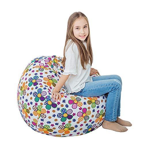 - Stuffed Animal Storage Bean Bag XXL - 100% Cotton Canvas Plush Toy Organizing Bag, Machine Washable (38