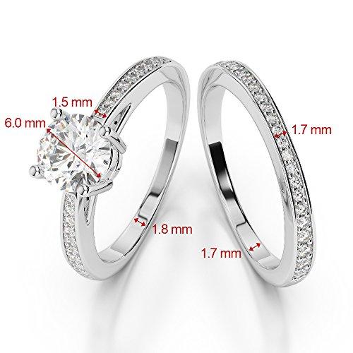 Or jaune 18carats 1CT G-H/VS sertie de diamants ronds Cut Saphir et mariée Bague de fiançailles et ensemble de Agdr-2051