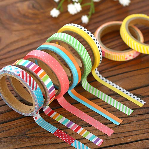 Holrea 3pcs 5M Washi Tape Set Paper Sticky Adhesive Sticker Decorative Washi Masking Tape Collection for DIY Scrapbooking Craft Planners Wall Art Bullet Journals Gift Wrapping Color Random