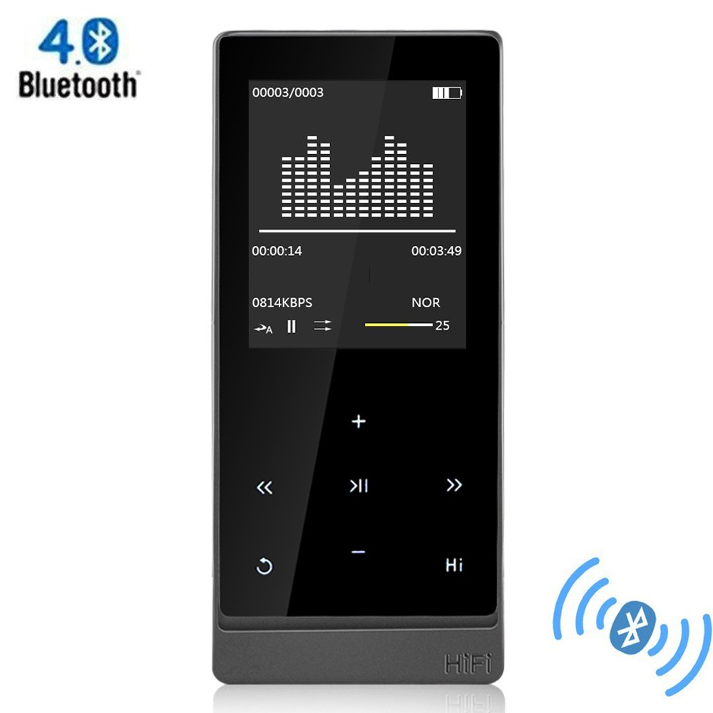 Sports MP3 Player Bluetooth - Portable A7 Plus Touch Screen 8GB Metal Casing Lossless Hi-Fi Audio MP3 WMV APE FLAC Music Player with FM Radio Recorder E-Book Reading by AUPHIL
