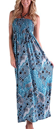 Beaded Halter Maxi Dress (Ingear Long Beaded Smocked Maxi Dress (Small/Medium, Blue Abstract))