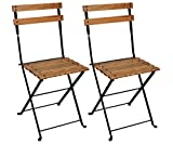 Mobel Designhaus French Café Bistro Folding Side Chair, Jet Black Frame, European Chestnut Wood Slats with Walnut Stain (Pack of 2) For Sale