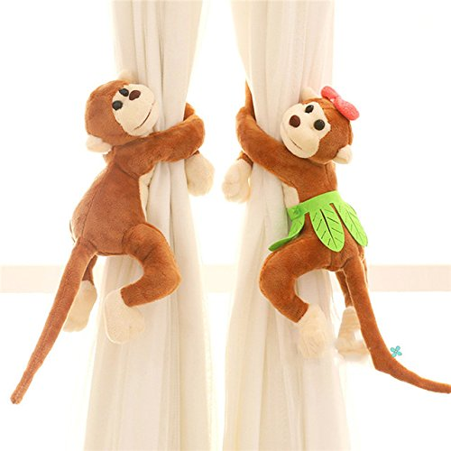 Monkeys Curtain Buckle-ViewHuge 2PCS Cartoon Monkey Curtain Buckle Curtain Strap Home Windows Curtain Stuffed Doll Plush Toys Lovely Animal Decoration Tieback