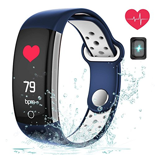 Fitness Tracker Watch, Upgraded IP68 Swim Water-resistant HD Color Screen Smart Bracelet, HR/Blood Oxygen/Pressure/Calorie/Sleep Monitor,Pedometer Activity Tracker BLE 4.0 for Android/IOS (Blue+White)