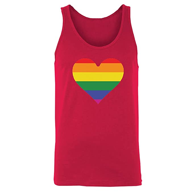 Rainbow Heart Gay Pride Men's Tank Top LGBT Walk Gift Pride Shirts Red  X-Large