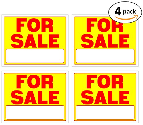 For Sale Signs 11 x 14 Inch - 4 Pack, Neon Fluorescent Yellow & Red