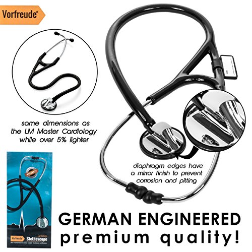 Vorfreude Cardiology Stethoscope Lifetime Replacement Guarantee (27'' Black) Bonus: Name Tag, Classic Pupil Pen Light, Batteries, Spare Diaphragm and 6 Eartips. Total Qty 1 by Vorfreude (Image #6)