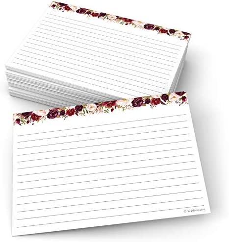 321Done Jumbo Floral Index Cards - Made in USA – Large 5x7 (Set of 50), College-Ruled Lined Notecards Double-Sided, Thick Heavy Duty Cardstock, Cute Pretty Flowers Red Roses on White Note Cards, XL