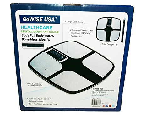 400 lbs Capacity FDA Approved Measures Weight Water /& Bone Mass Body Fat Black Tempered Glass GoWISE USA Digital Body Fat Scale