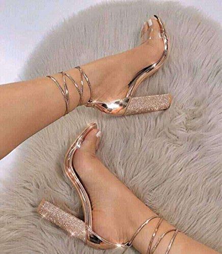 bendaggio PVC Grossolana tacco sandali con alto Donyyyy Forty in tallone del con SA1vq4