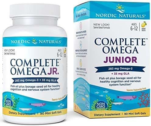 Nordic Naturals - Complete Omega Junior, Promotes Brain, Bone, and Nervous and Immune System Health, 90 Soft Gels