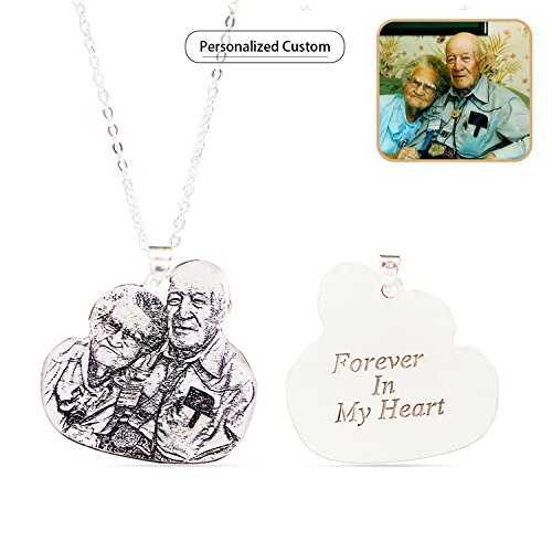 Wisdoy Personalized Custom Photo Necklace Pendant Silver Chain Customized Handmade Gift for Men/Women/Girls/Boys (Pendant Personalized Photo)