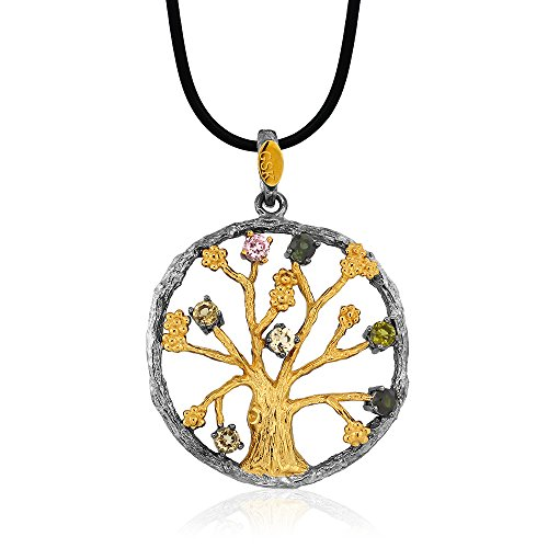 - Gem Stone King 1inches 925 Sterling Silver Gold & Black Plated Noir Garden Tree Of Life Pendant