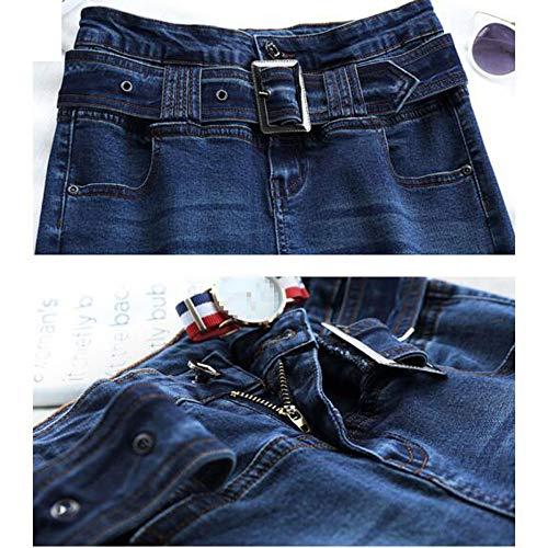 Skinny Jeans Stretch Pantalons Jeans Taille Blue Long Haute Denim Pantalons Femmes Dlav De PHYpPw0