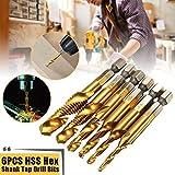 """6pcs Spiral Flute Taps, Metric Thread M3-M10 Titanium Coated HSS v Hex Shank Drill Tap Bits 1/4"""" Hex Shank Drill Tool…"""