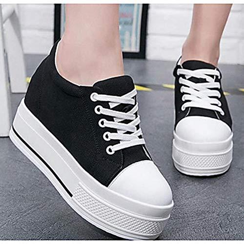 EU37 US7 UK5 Negro Black CN37 Redondo TTSHOES Dedo Deporte Media 5 Blanco Plataforma Zapatos Zapatillas Tela Primavera De Confort Mujer qTx4a