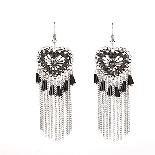 (Vintage Bohemian Jewelry Silver-Tone Alloy Crystal Resin Beaded Heart Long Chandelier Dangle Earrings for Women Black)
