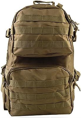 airsson Asalto Mochila Táctico Bolsa de hombro mochila mochilas Molle Airsoft con velcro para al aire libre viaje senderismo Camping, canela