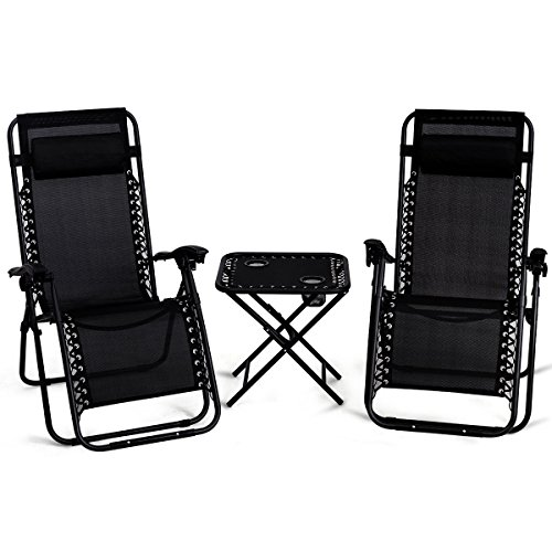 - Giantex 3 PCS Zero Gravity Chair Patio Chaise Lounge Chairs Outdoor Yard Pool Recliner Folding Lounge Table Chair Set (Black)
