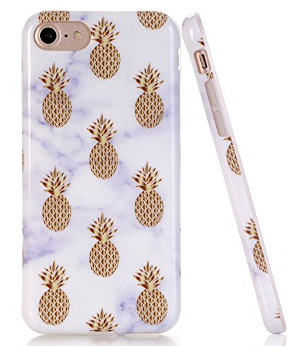 BAISRKE Marble Case with Gold Pineapple Design Slim Black Bumper TPU Soft Rubber Silicone Cover Phone Case for iPhone 7 (2016) / iPhone 8 (2017) [4.7 inch]