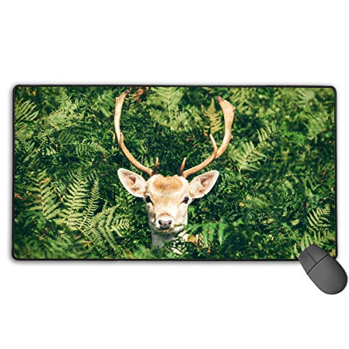 Deer in Bush Mouse Pad,Mouse Mat with Anti-Fray Stitched Edges,Non-Slip Rubber Base Mousepad for Laptop, Computer & ()