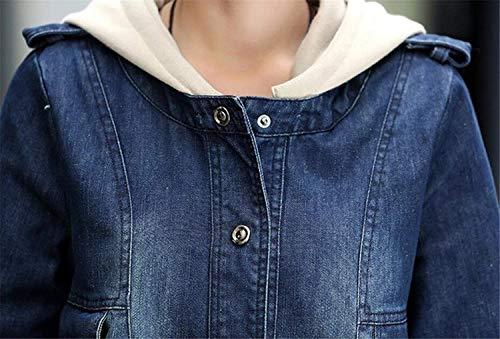 Sciolto Casuali Blu Giubbino Lunga Outerwear Donna Vintage Incappucciato Classiche Giubotto Denim Fashion Autunno Invernali Manica Donne Giacche Eleganti Jeans PwqqU7R