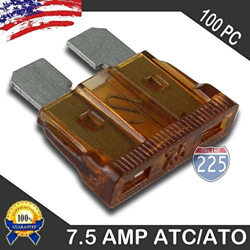 100 Pack 7.5 AMP ATC/ATO Standard Regular Fuse Blade 7.5A Car Truck Boat Marine RV
