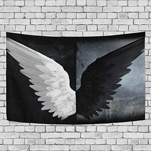 MALPLENA Black and White Angel Wings Tapestry Wall Hanging Polyester crosswise Dorm Decor -