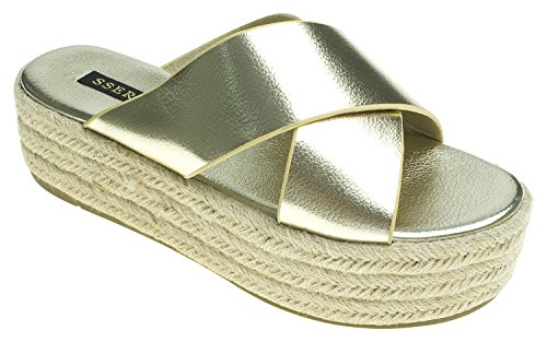AnnaKastle Womens Metallic Criss-Cross Strap Espadrille Platform Slide Sandals