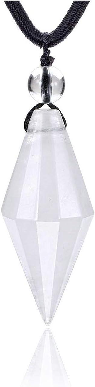 CrystalTears piedras preciosas joyas cono colgante collar facetado colgante con cadena ajustable Healing piedras preciosas gargantilla Reiki Glückamer cristal de roca
