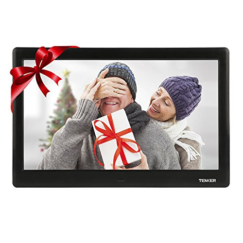 TENKER 10-inch HD Digital Photo Frame IPS LCD Screen with Auto-Rotate/Calendar/Clock Function, MP3/Photo/Video Player with Remote Control (Black)