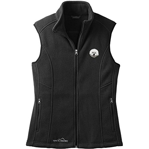 Cherrybrook Dog Breed Embroidered Womens Eddie Bauer Fleece Vest - X-Large - Black - Bichon Frise (Bichon Frise Vest)