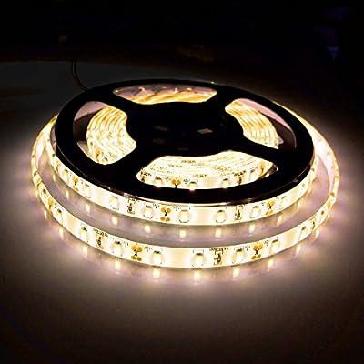 Bogao16.4ft LED Flexible Light Strip, 300 Units SMD 5630 LEDs, 12V DC waterproof, Light Strips, LED ribbon, DIY Christmas Holiday Home Kitchen Car Bar Indoor Party Decoration (White)…