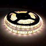 Bogao16.4ft LED Flexible Light Strip - 300 Units SMD 5630 LEDs - 12V DC waterproof - Light Strips - LED ribbon - DIY Christmas Holiday Home Kitchen Car Bar Indoor Party Decoration (Warm White)