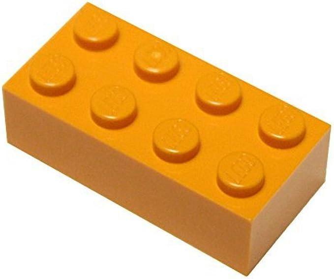 LEGO Orange Brick 2x4 Lot of 100 Parts Pieces 3001