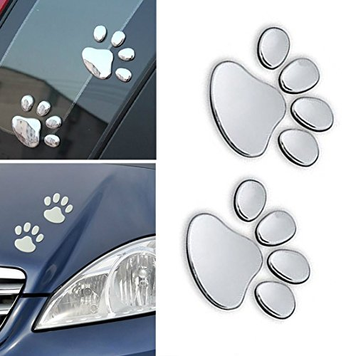 1 Pair Indefectible Popular 3D Pets Paw Car Sticker Truck Decor Animal Decal Cat Emblem Color Silver