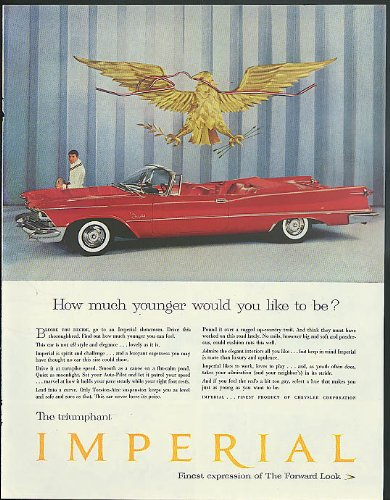(How much younger would you like to be? Imperial Convertible by Chrysler ad 1958)