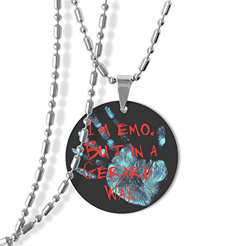 I'm Emo But In A Gerard Way Dog Tag Round Pendant Necklace,23 Inch Chain,Titanium-Lined-Aluminum