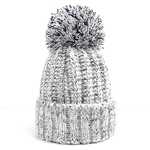 Cable Cuff Beanie (RoseSummer Men & Women's Winter Cable Knit Faux Fur Pom Pom Foldable Cuff Beanie Hat (White))