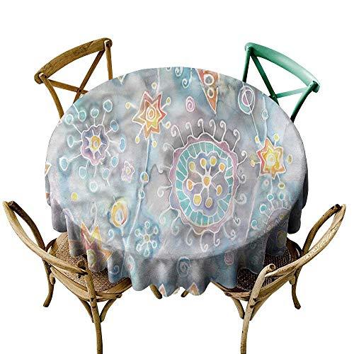 (familytaste Batik,Tablecloth Round WeddingFlower and Star Paint Splash D 50