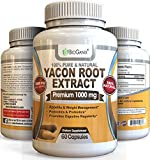 Yacon Root Syrup Extract 1000mg serving - Raw Natural Prebiotic & Probiotic Supplement, Rich in FOS & Antioxidants - Research Verified To Support Healthy Digestion & Weight Loss (60 Capsules)