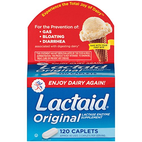 Lactaid Original Strength Lactase Enzyme Caplets, 120 - 120 Caplets