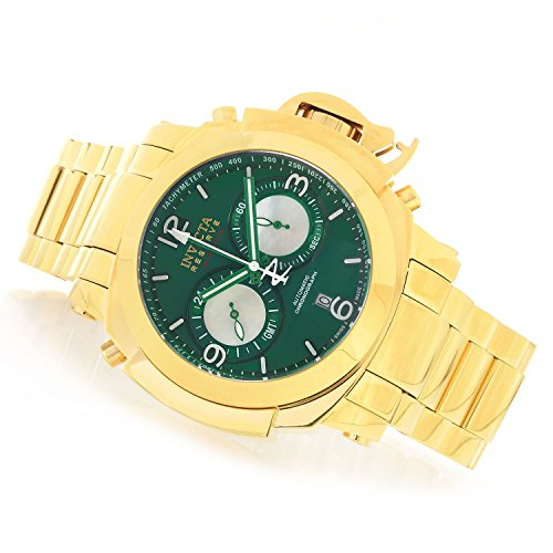 Invicta Mens Reserve Man of War Swiss Made Dubois Depraz DD 2055 Automatic Chronograph GMT Gold Tone Stainless Steel Green Dial Watch