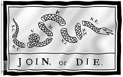 Philadelphia Light Horse - Anley Fly Breeze 3x5 Foot Join Or Die Flag - Vivid Color and UV Fade Resistant - Canvas Header and Double Stitched - Rattlesnake Flags Polyester with Brass Grommets 3 X 5 Ft