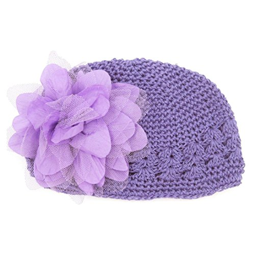 Price comparison product image Toddlers Baby Girl Fashion Lace Flower Hollow Out Hat Headwear Knitted Crochet Hat (Purple)