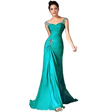 Turquoise Off the Shoulder Prom Dress with Beads (12)