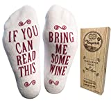 'Bring Me Some Wine' Luxury Combed Cotton Socks with Gift Box - Perfect Hostess or Holiday Gift Idea for Women, Valentine's Day Gift Idea for Wine Lover, New Mom or Wife - By Haute Soiree